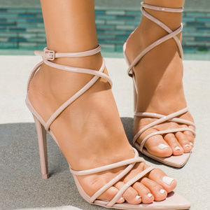 Nude Strappy Pointy Toe High Heel Sandals